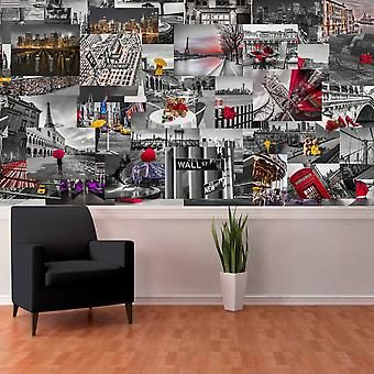 Creative Collage City Scapes Designer Wall Mural - 64 Pièce