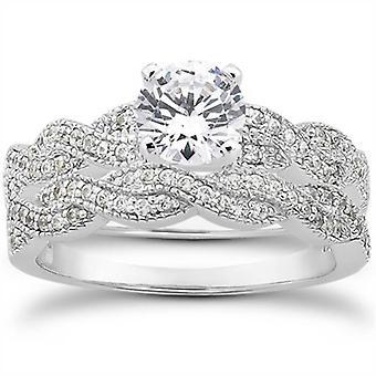 5/8ct Pave Diamond Infinity Engagement Wedding Ring Set Vintage White Gold 14k