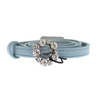 Dolce & Gabbana Blue Cotton Leather Crystal Buckle Belt -- MOM2667397