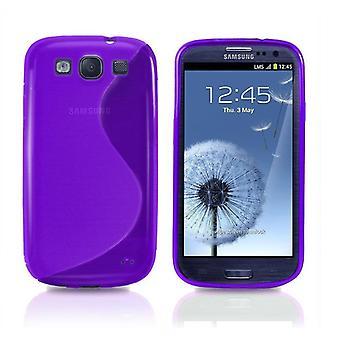 Samsung Galaxy S3 TPU Shell-transparent lilla + skjermbeskyttelse