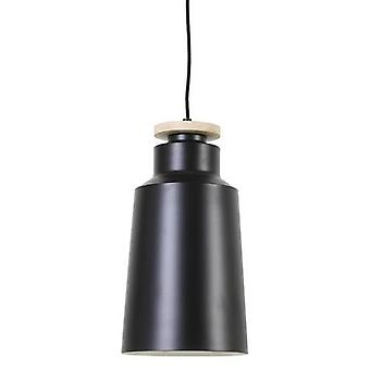 Hanging Lamp Nerena Disk Wood Black