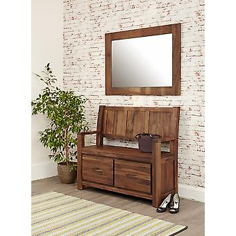 Mayan Walnut Monks Bench with Shoe Storage Brown - Baumhaus