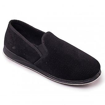 Padders Albert Mens Corduroy Wide (g Fit) Full Slippers Noir