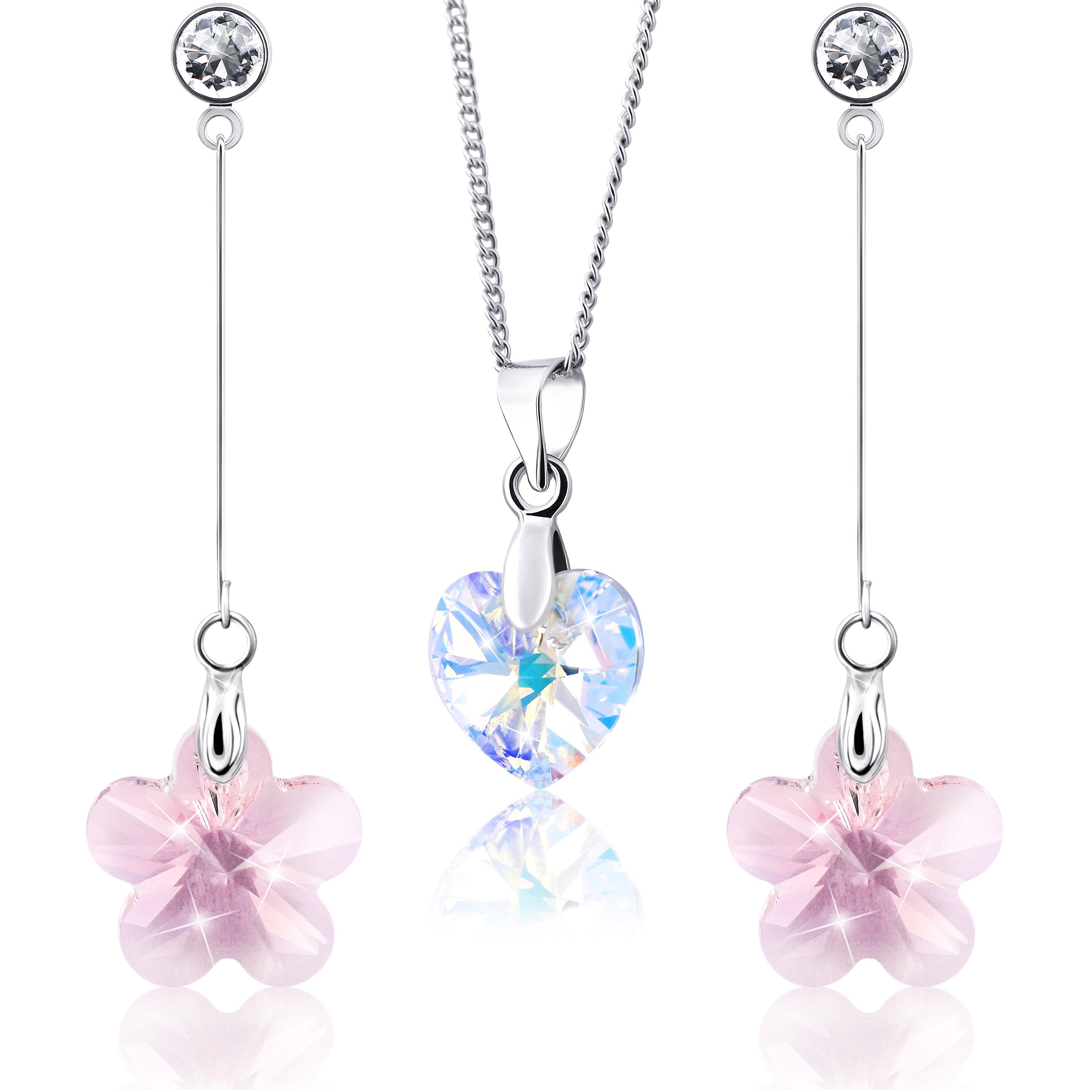 Rhodium plated earrings and necklace with swarovski crystal. jewellery box. by 2splendid. 2 for 1. enqz018