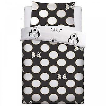 Disney Minnie Mouse Gold Bows Dots Spots Black Duvet Quilt Cover Bedding Single 453115