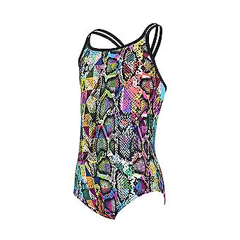 Zoggs Zany Girl's Duoback One Pieces Swimsuit in Multicolour Eco Fabric