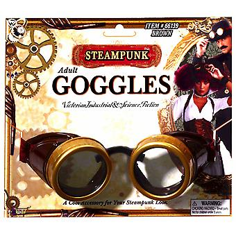 Steampunk Aviator Victorian Industrial Men Costume Brown Goggles