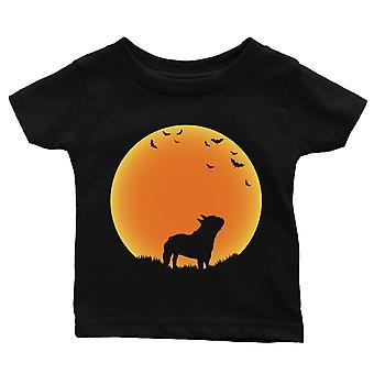 Luna francesa Bulldog Halloween traje divertido bebé regalo camiseta
