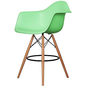Charles Eames Estilo Peppermint Green Plastic Bar Stool With Arms