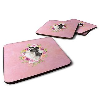 Set of 4 Border Collie Pink Flowers Foam Coasters Set of 4