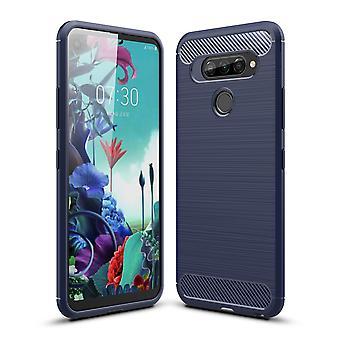 LG Q70 TPU Case kolfiber optik borstad skyddande ärm blå