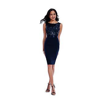 Goddiva Navy Sequin Embellished Bodycon Midi Dress