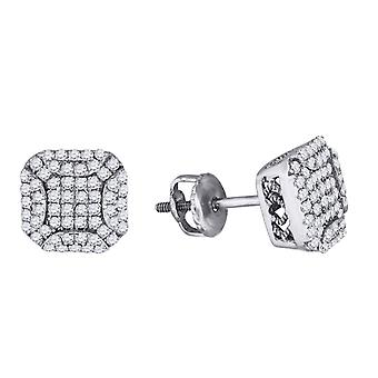 925 Sterling argento uomini rotondo c'è cubico zirconia simulato Diamond Stud Square cluster moda orecchini gioielli regali fo