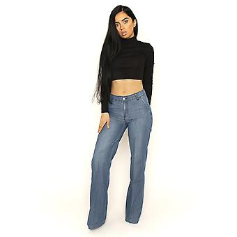 Womens Faded Lightweight Wide Leg Pants Flared Trousers