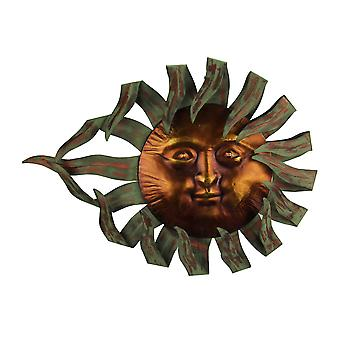 Two Tone Metal Celestial Sun Wall Sculpture