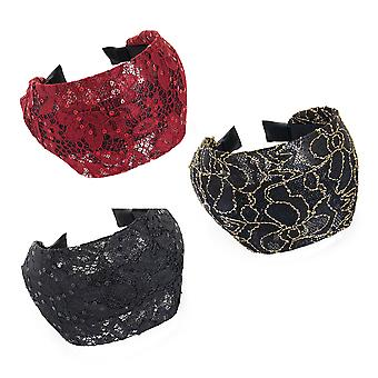 8cm Lace Look Wide Design Alice Band Fashion Headband Black Burgundy Sequin
