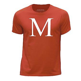 STUFF4 Boy's Round Neck T-Shirt/Alphabet Letter Initial M/Orange