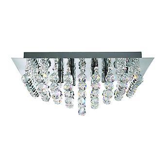 Hanna 8 Light Chrome Square Flush-crystal Balls