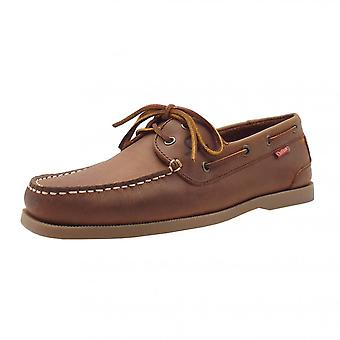 Chatham Marine Galley Ii Men's Leather Boat Shoes In Dark Tan