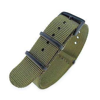 Strapcode n.a.t.o pulseira do relógio 20mm g10 faixa de nylon banda de relógio militar, verde militar, preto pvd, 260mm