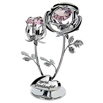 Crystocraft Chrome Plated Rose & Rose Bud Ornament. (Special Grandaughter) made with Swarovski crystals