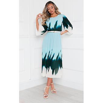 IKRUSH Womens Dionne Tie Dye Ombre Pleated Midi Dress