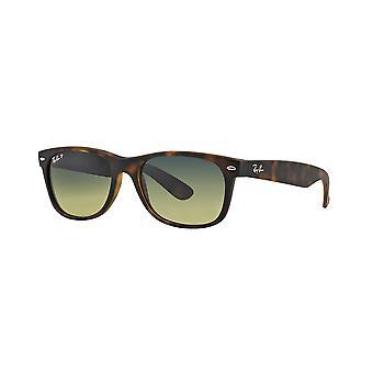 Ray-Ban New Wayfarer RB2132 894/76 Matte Havana Blue/Green Mirror Polarised Sunglasses