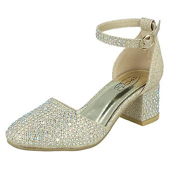 Girls Spot On Glittery Heeled Party Chaussures H3083