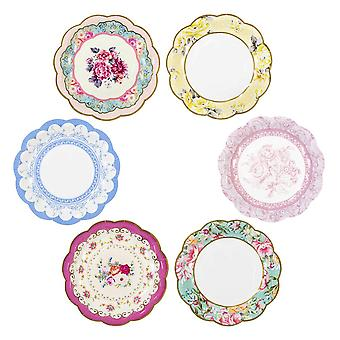 Small Vintage Style Alice in Wonderland Floral Paper Plate Pack of 12