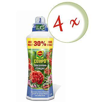 Sparset: 4 x COMPO geranium fertilizer, 1.3 litres