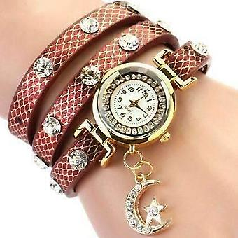 Look to the moon and stars sparkly wrap bracelet watch in antique cherry