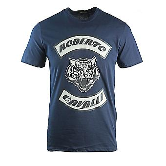 Roberto Cavalli Tiger Head Navy Blue T-Shirt