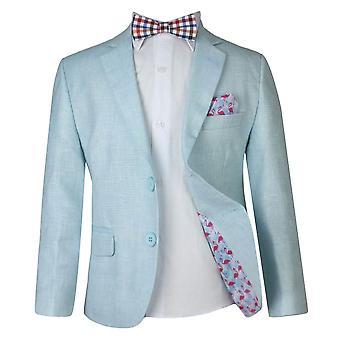 少年ミント グリーンのリネン カジュアル スーツ セット