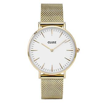 Cluse Cl18109 La Boheme White & Gold Mesh Ladies Watch