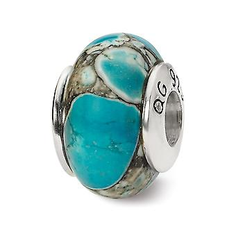 925 Sterling Sølv Polerte Refleksjoner Blå Mosaikk Magnesite Stein Perle Sjarm Anheng Halskjede Smykker Gaver til Kvinner