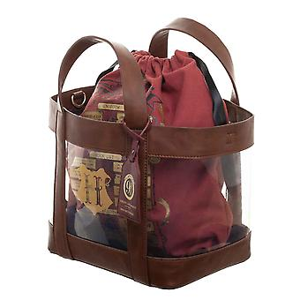 Harry Potter Tote Bag Platform 9 3/4 Clear With Removable Cinc new Official Red