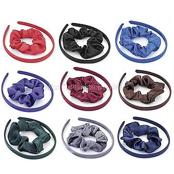 2pc satin look headband and scrunchie set Various Colours