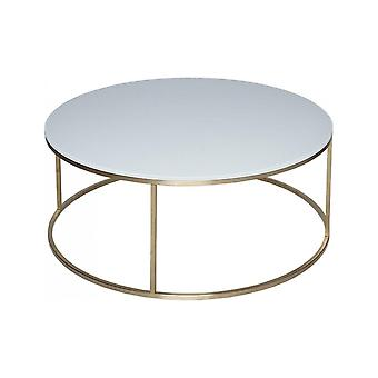 Gillmore White Glass And Gold Metal Contemporary Circular Coffee Table