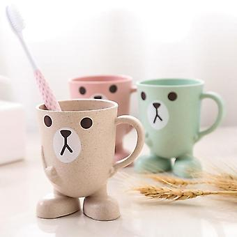 Creative Wheat Straw Cartoon Toothbrush Cup - Bathroom Tumbler, Mouthwash