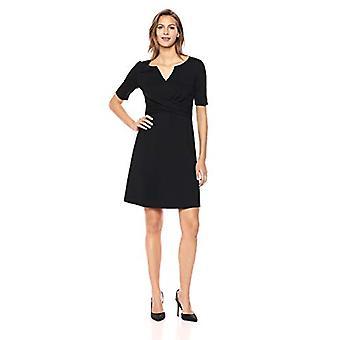 Lark & Ro Women's Half Sleeve Twist Front A-Line Ponte Dress, Black, 14