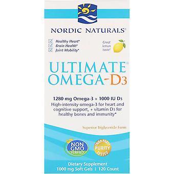 Nordic Naturals, Ultimate Omega-D3, Citron, 1 000 mg, 120 Mjuka Geler