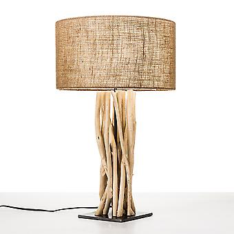 Modern Home Driftwood Nautical Wooden Table Lamp w/Block Base - Light for Seaside/Beach House/Ocean Theme Décor