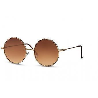 النظارات الشمسية السيدات جولة القط بلا حواف. 3 ذهبي / بني