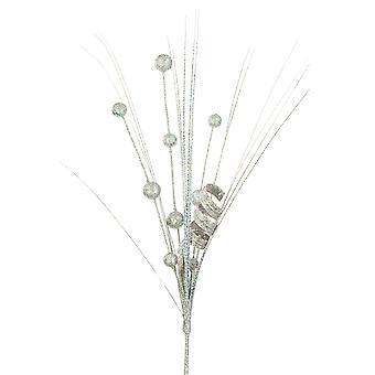 Tall 60cm Silver Berry & Grass Christmas Spray - Floristry Stem