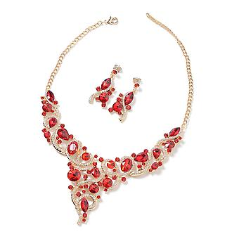 Set of 2 Simulated Red Garnet, Red White Crystal Collar Necklace 18