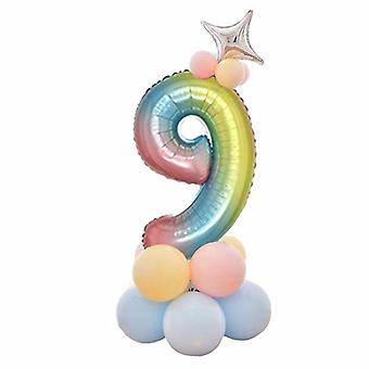 32 Inch Foil Gradient Digital Balloons Set Number Balloon- Happy Birthday Party Decor Kids Cartoon Hat Toy