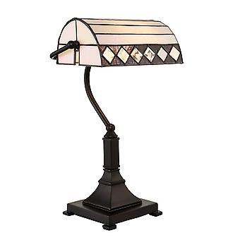 1 Ljus bordslampa mörk brons, Tiffany Glas, E27