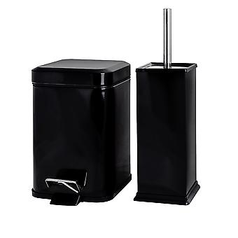 Square Steel Bathroom Pedal Bin (3 Litres) & Toilet Brush Set - Black