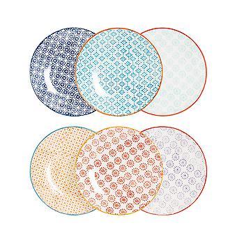 Nicola Spring 6 Piece Hand-Printed Side Plate Set - Japanese Style Porcelain Dessert Bread Plates - 6 Colours - 18cm