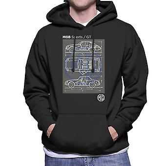 MG B Sports GT British Motor Heritage Men's Hooded Sweatshirt